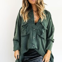 Do It Big Forest Green Acid Washed Long Sleeve Button Up Top