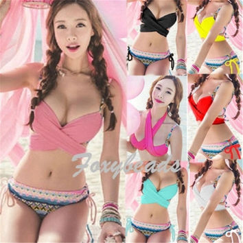 Womens 2PCS Padded Bikini Set Top + Bottom+Color up Dress Swimsuit Swim Bathing suit = 1956856068