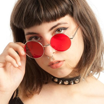 Trip Pop Red Round Sunnies