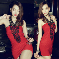 Sexy Womens Lace Crochet Halter Neck Backless Mini Cocktail Party Dress Clubwear