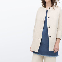 LINEN COAT WITH LARGE POCKETS