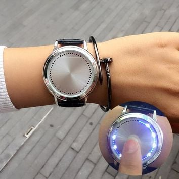 New Creative Touch Screen Watch Men Women Cool Led Personality Click Digital Wristwatch Steel Dial Leather Strap Girl Boy Gift