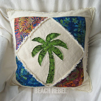 Quilted patchwork palm tree boho pillow cover, with green, blue, and purples batik and natural denim 18""