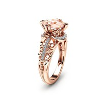 Cushion Cut Morganite Ring in 14K Rose Gold Unique Engagement Ring Cushion Cut Engagement Ring Art Deco Ring with 2 Carat Morganite