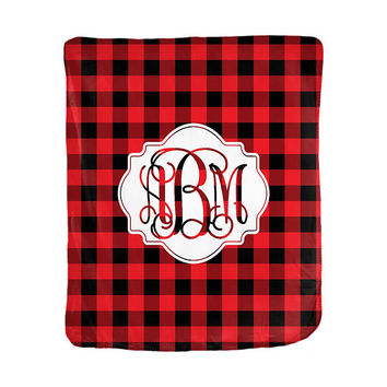 Buffalo Plaid Monogrammed Throw Blanket - Multiple Sizes Available
