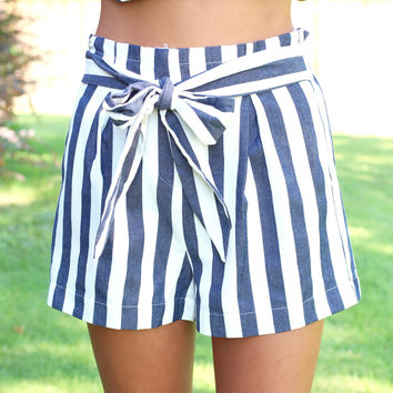 Stripe It to Me Shorts {Navy+White}