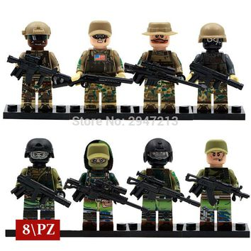 hot decool modern war Russian special forces with US Marines swat team compatible LegoINGlys Military guns Building blocks toys