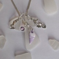 Sea Glass Cluster Necklace with Shell and Charms