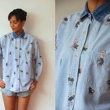 Vtg Bears Print Striped Denim Collar Button Down LS Shirt