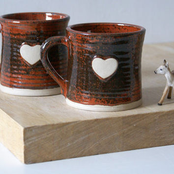Set of two heart mugs glazed in red jasper - hand thrown stoneware pottery