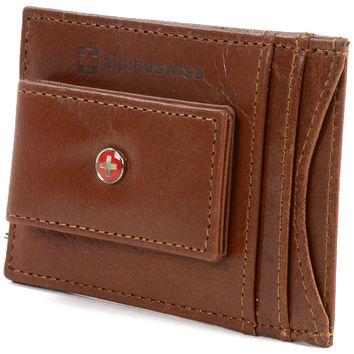 Genuine Leather Money Clip front pocket wallet with magnet clip and card ID C...