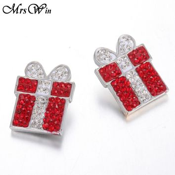 10pcs/lot Christmas 18mm Snap Jewelry Clay Rhinestone Gift Box Snap Buttons fit Snap Bracelet Necklace New Year Gift