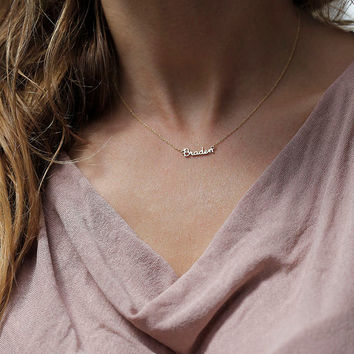18k Gold Tiny Name Necklace, Solid Gold Name Necklace, Tiny Initial Necklace