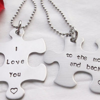Personalized Puzzle Piece Necklace Set - I love you to the moon and back - for couples for him for her autism awareness