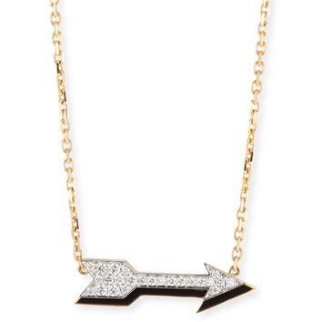 David Webb Motif 18k Gold Diamond Arrow Pendant Necklace with Black Enamel