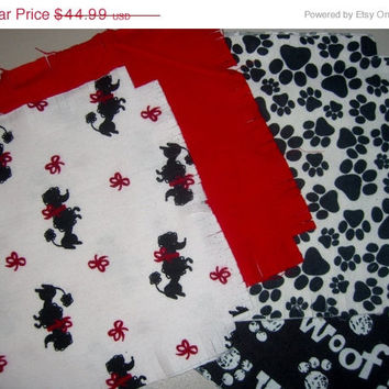 "Flannel rag quilt kit poodle dog fringed die cut fabric squares and batting complete ready to sew 39""x39"" red white black"