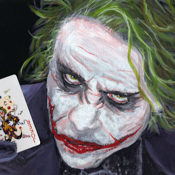 Joker DC Villain 8x10 Art Print Heath Ledger DC Comics Wall Room Decor Wall Art The Dark Knight Batman's Villain