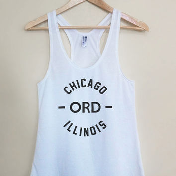 ORD - Chicago Illinois - Light Weight White Racerback Womens Tank Top - Sizes - Small Medium Large
