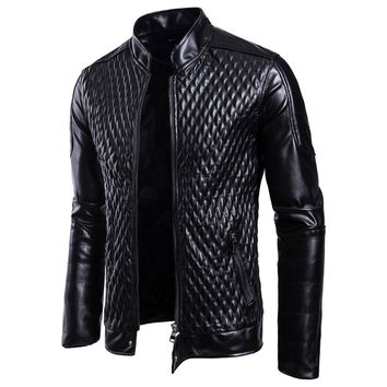 Gothic Black Faux leather Jacket Skull Long Sleeve Stand Collar