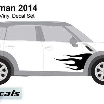 Mini Countryman 2014 Flaming Side Graphics Vinyl Decal Set