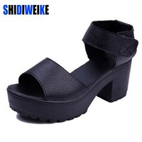 Summer Sandals Woman Pep-toe Thick Heel Botton Platform Summer Style Black Shoes Woman