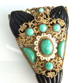 Art Deco Dress Clip, Peking Green Glass, Black Melon Glass Cabochons, Gilt Filigree, Ivory Enamel, 1930s