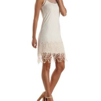 Orange Embroidered Mesh & Crochet Shift Dress by Charlotte Russe
