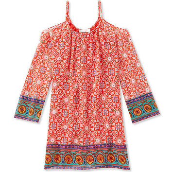 GB Girls 7-16 Cold Shoulder Printed Peasant Dress | Dillards