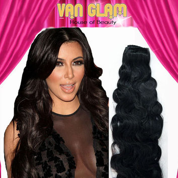 "Kim Kardashian Inspired, 26"", #1b Natural Black, Wavy, Halo Hair Extensions, Ready To Ship"
