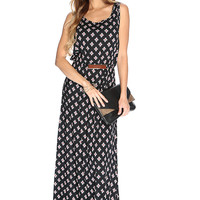 Black Orange Sleeveless Floral Print Casual Summer Maxi Dress