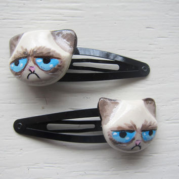 Grumpy Cat Polymer Clay Hair Clip Set
