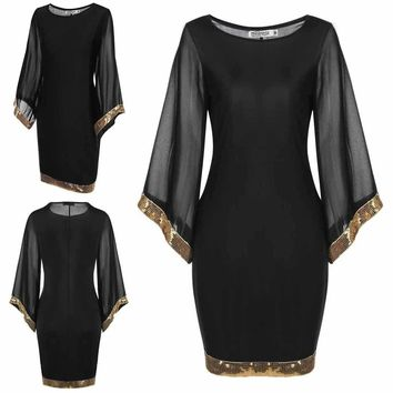 Women's Flare Sleeve Sequined Trim Cocktail Dress