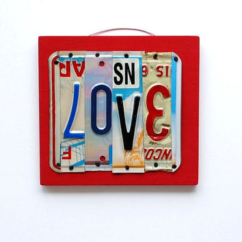 LOVE, OOAK License Plate Art, Home Decor, Wall Hanging, Valentines Day gift, Chrismtas Gift, Stocking Stuffer, Wedding Gift,