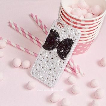 Custom Crystal & Pearl Black White Mono iPhone 5 Phone Case Hard Cover Rhinestoned Bling Sparkly Bow Hollywood Kawaii Cute Studded Stud