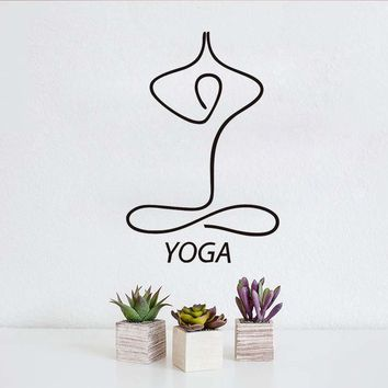 Wall Stickers Line Drawing Indian Meditation Yoga Home Decor Removable Vinyl Art Wall Murals For Living Room Sticker Bedroom