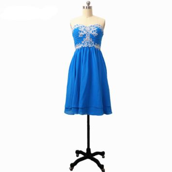 Sweetheart Short Homecoming Dresses Lace Appliqued Chiffon Pleated Empire Waist