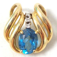 Estate 10K Gold Blue Topaz Diamonds Slide Pendant