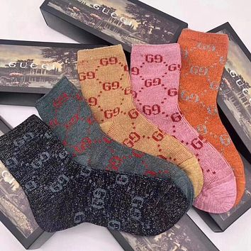 Gucci Men Fashion Casual Sport 100% Cotton Socks+Gift Box