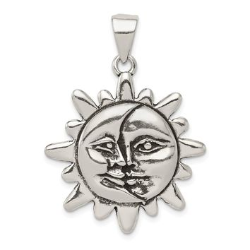 925 Sterling Silver Antiqued Sun and Half Moon Face Shaped Pendant