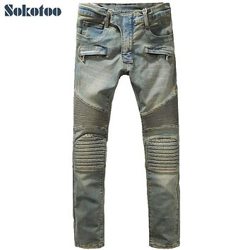 Sokotoo Men's fashion slim vintage biker jeans Casual thick heavyweight stretch denim cargo pants Long trousers