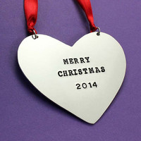 Personalized Christmas Ornament - Custom Heart decoration - Family ornament - Baby's 1st ornament - Keepsake ornament - Christmas gift