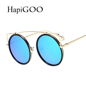 Vintage Round Sunglasses for Women Fashion Metal Single Beam Cat eye Mirror Sun Glasses