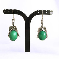 Vintage Sterling Silver Malachite Dangle & Drop Earrings - Boho - Malachite and Silver Earrings - Artisan Jewelry - Southwestern Jewelry
