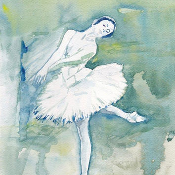 Art Watercolor Painting - Print my Original  Painting 8x11 Dance Ballet  Ballerina  Spring Home Decor Illustration blue and olive green