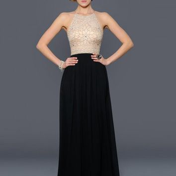 A-Line/Princess Beading Jewel Floor-length Chiffon Dress - Long Prom Dresses - Prom Dresses