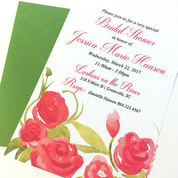 "Watercolor Bridal Shower Invitation - Shabby Chic Wedding Shower Card ""Summer Blooms"" Garden Wedding Bridal Shower - Watercolor Wedding"