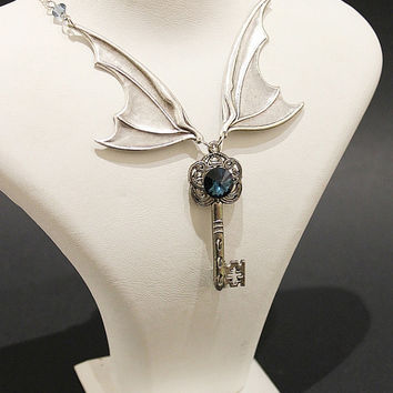 Gathering storm Vampire Gothic necklace - dragon wings in silver with key and Swarovski crystal blue denim stone - Victorian Gothic Jewelry