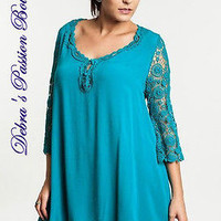Umgee Teal Shift Dress with Lace Sleeves-Plus Size