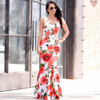 Fahsion Sexy Women Bodycon Ladies Summer Dresses Print Floral Boho Long Maxi Evening Party Dress Women robe femme