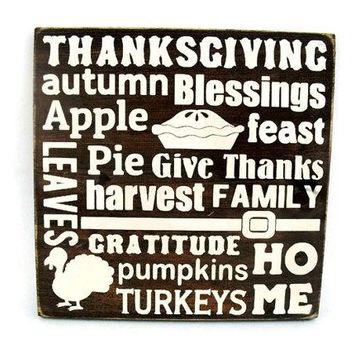 Thanksgiving Rustic Wood Sign Wall Hanging Home Decor - Subway Art (#1212)